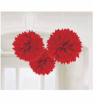 Fluffy Decoration Red 16in 3ct