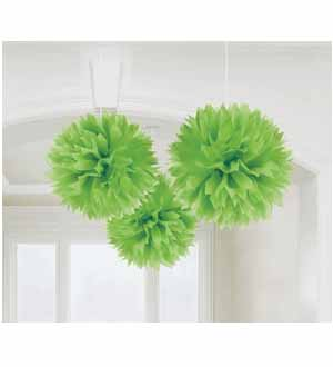 Fluffy Decoration Lime Green 16in 3ct